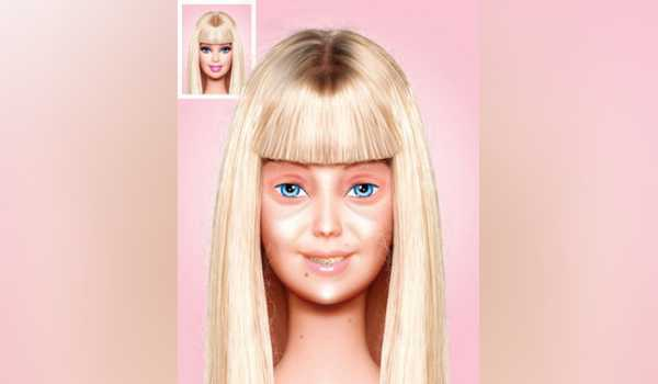 Wajah Barbie tanpa make up.