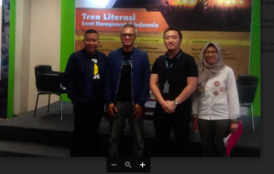 Event Talks bertajuk Tren Literasi Event Management di Indonesia di Universitas Prasetiya Mulya, Jakarta.