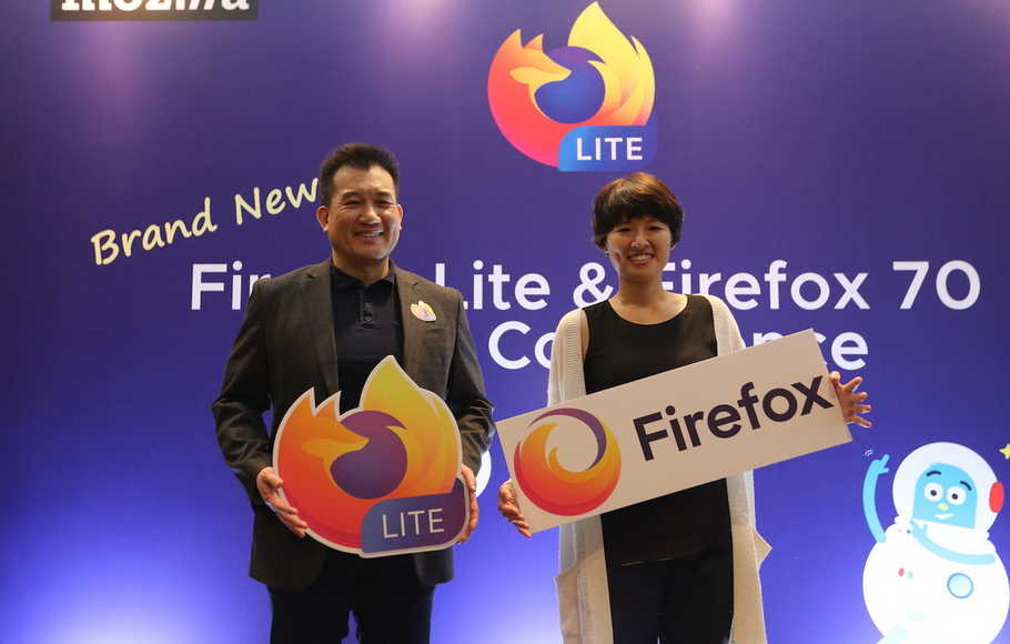 VP and General Manager of Emerging Markets Mozilla Stan Leong dan Staff Product Manager Core Browsers Cindy Hsiang dalam acara konferensi pers Firefox Lite dan Firefox Browser di Jakarta, Rabu (27/11/2019)