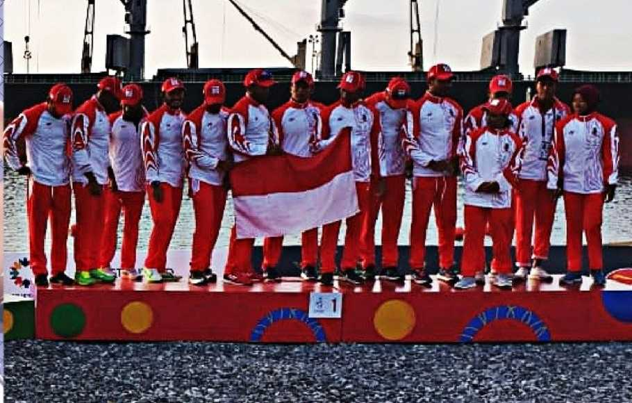 Regu dayung 200 meter putra 12 seat Indonesia di SEA Games 2019.