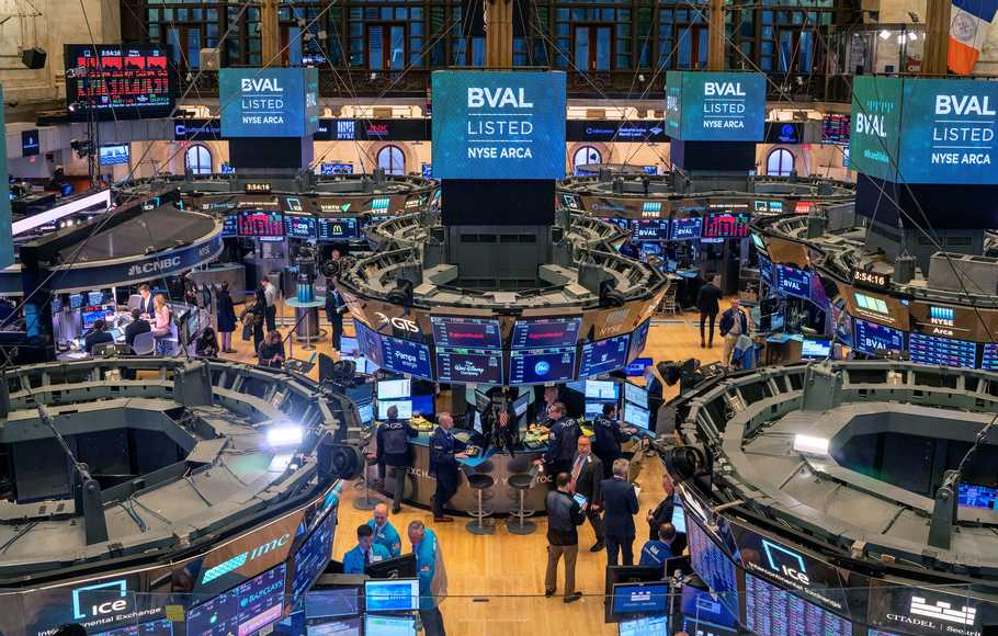 Ilustrasi bursa saham AS Wall Street.