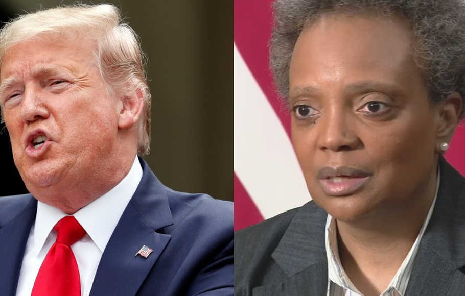 Presiden AS Donald Trump dan Wali Kota Chicago Lori Lightfoot.