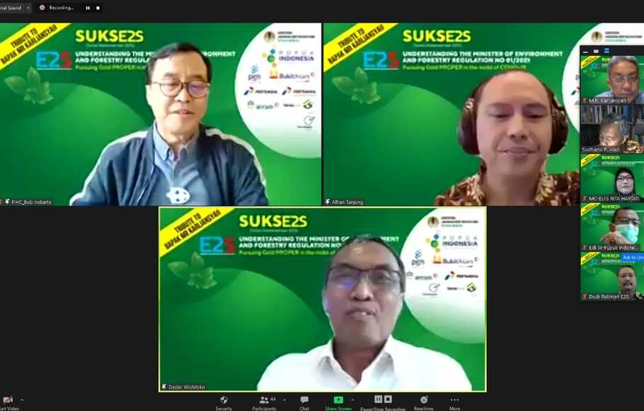 Webinar Understanding The Minister of Environment and Forestry Regulation No 1/2021: Pursuing Gold PROPER in The Midst of Covid-19 di Jakarta Kamis 6 Mei 2021.