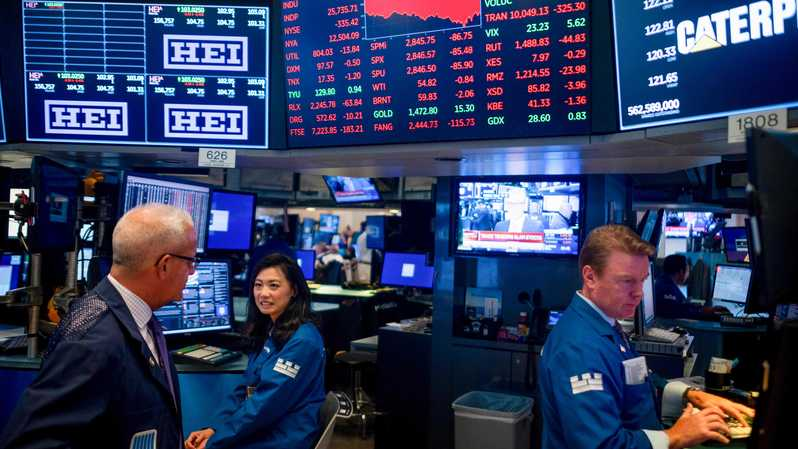 Suasana di lantai New York Stock Exchange (NYSE) pada 5 Agustus 2019 di Wall Street, New York City, Amerika Serikat (AS). AFP / Johannes EISELE