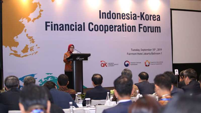 Wakil Ketua Dewan Komisioner OJK Nurhaida memberikan sambutan dalam Indonesia-Korea financial Cooperation Forum, yang digelar OJK bekerja sama dengan Korea Financial Services Commission dan Council on International Financial Cooperation (CIFC) di Jakarta, Selasa (10/9/2019). (ist)