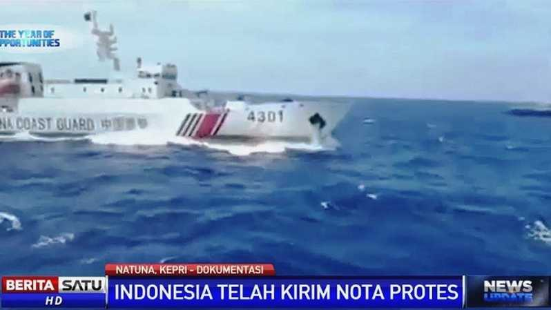 Kapal China Coast Guard di perairan Natuna. Foto: dok. BSTV
