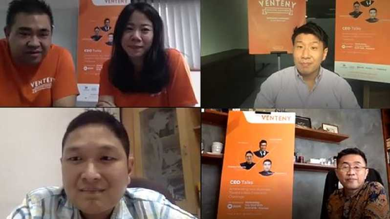 Riko Simanjuntak, Marketing Manager Venteny, Kezia Mareshah (PR Manager Venteny), Junichiro Waide (Founder & CEO Venteny Group), Chandra Firmanto (Managing Director Indogen Capital), Tommy Gunawan (CEO PT Freshklindo Graha Solusi) saat melakukan webinar dengan tema