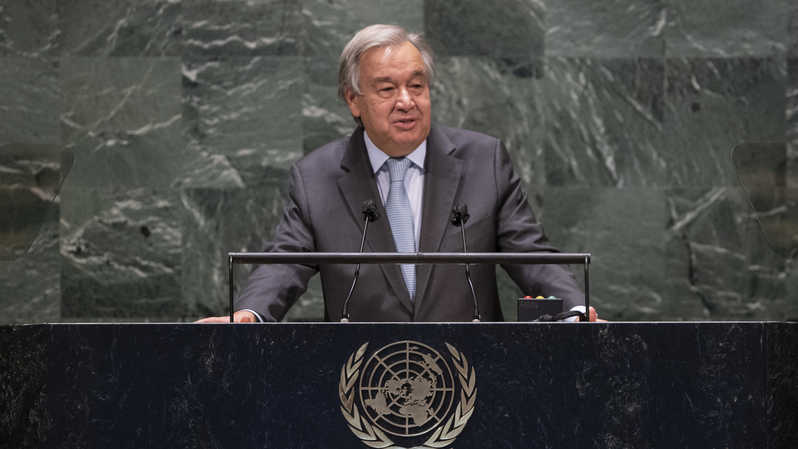 Sekretaris Jenderal Perserikatan Bangsa-Bangsa (Sekjen PBB) Antonio Guterres saat berpidato dalam Sidang Umum PBB ke-75 di markas PBB, di New York, Amerika Serikat (AS) pada 22 September 2020. ( Foto: ESKINDER DEBEBE / UNITED NATIONS / AFP )