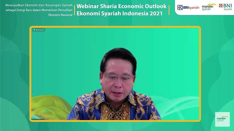 Ketua Project Management Office (PMO) Integrasi dan Peningkatan Nilai Bank Syariah BUMN Hery Gunardi dalam webinar Sharia Economic Outlook 2021, Selasa (19/1).