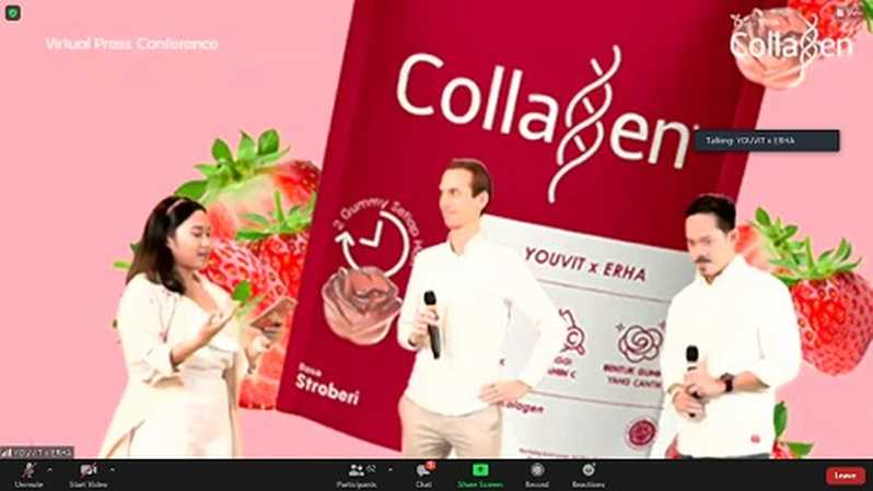 Virtual press conference Youvit X Erha Collagen Launch - Gemesin Kulit Wajahmu, Selasa (23/2).
