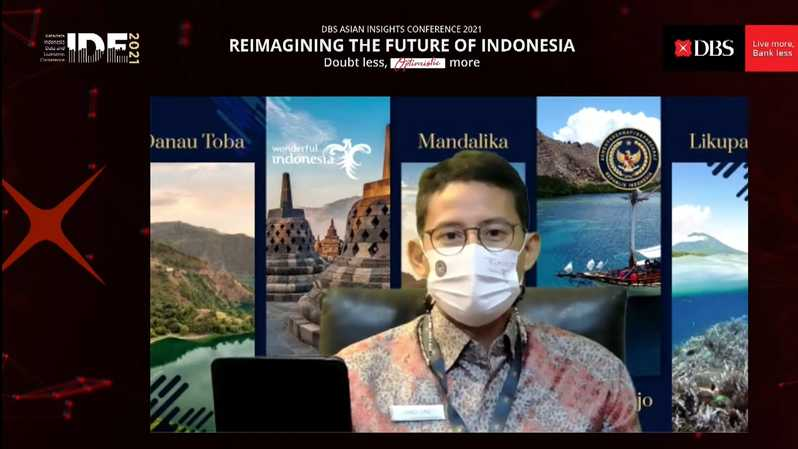 Menparekraf Sandiaga Uno dalam acara DBS Asian Insights Conference 2021: Reimagining The Future of Indonesia, Senin (22/3/2021). (Herman/B1)