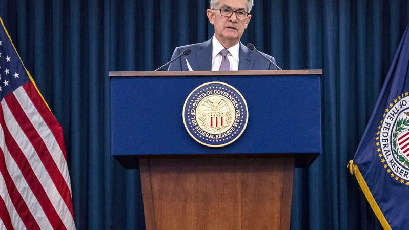 Gubernur The Federal Reserve (The Fed) Jerome Powell. ( Foto: ERIC BARADAT / AFP  )