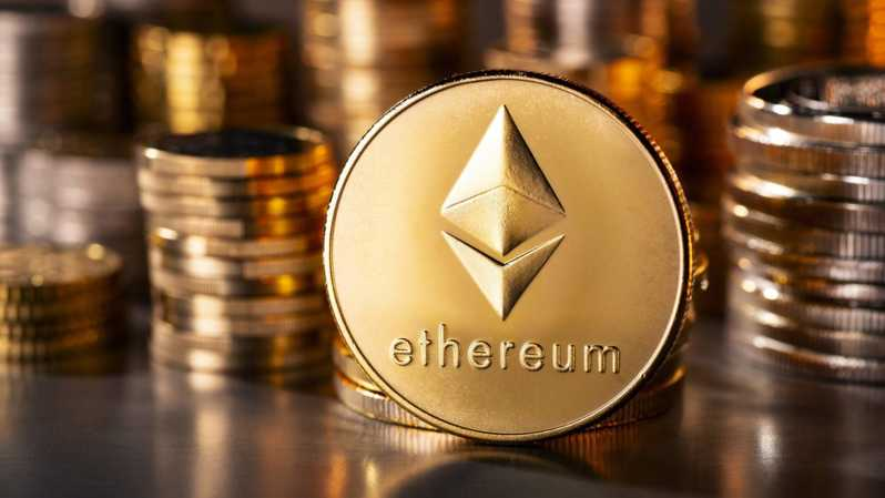 Mata uang kripto (cryptocurrency) Ethereum atau Ether. ( Foto: AFP Photo via Gettty Images )