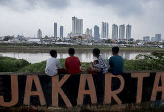 Children seen resting at a recently developed park meant to provide respite from the hustle and bustle of Jakarta's unrelenting traffic. Ahok's administration plans to approve similar projects before the governor's term ends in October. (Antara Photo/Hafiz Mubarak A.)