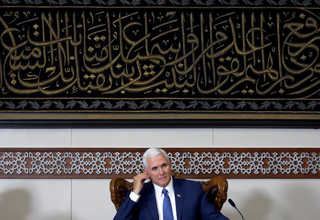 Vice President Pence listens during a meeting with Muslim community leaders at the Istiqlal Mosque in Central Jakarta on Thursday. (Reuters Photo/Beawiharta)