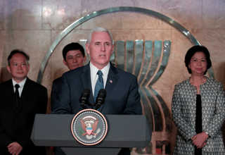 Vice President Pence talks to reporters after meeting with ambassadors of the Association of Southeast Asian Nations (Asean) in Jakarta on Thursday. (Reuters Photo/Beawiharta)