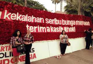 """A thousand flowers bloom after your loss. Thank you, Ahok!"" (Photo posted on Indonesian social media)"