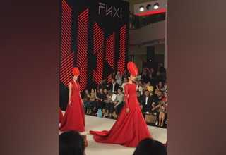 Young Indonesian designer, Yogie Pratama paired the glamorous gowns with exaggerated head accessories. (JG Photo/Deilla Yasmin)