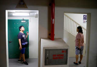 Ignatius Low, 13, and his mother Margaret Wong look for queen ants at a public housing estate in Singapore, May 3, 2017. Reuters Photo/Edgar Su
