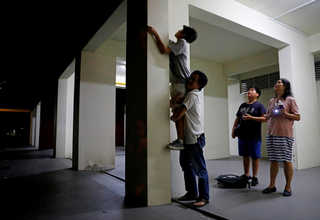Eric Tan lifts his son Leland, 14, as they try to catch queen ants at a public housing estate in Singapore, May 3, 2017. Reuters Photo/Edgar Su