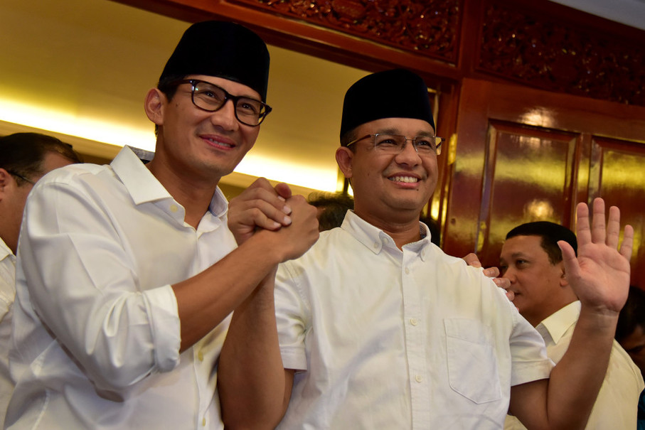Sandiaga Uno and Anies Baswedan (Antara Photo/Dedi Wijaya)