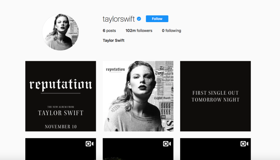 Taylor Swift's present Instagram account. (JG screenshot)