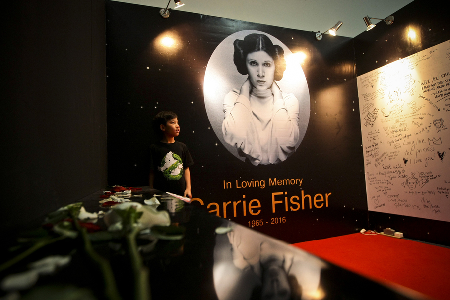 A tribute to the legendary Carrie Fisher, who played Princess Lea in the original Star Wars. The actress died last year. (JG Photo/Yudha Baskoro)