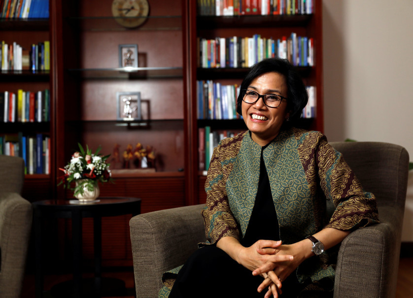 Finance Minister Sri Mulyani Indrawati smiles during an interview at the Finance Ministry offices in Jakarta on Thursday. (Reuters Photo/Darren Whiteside)