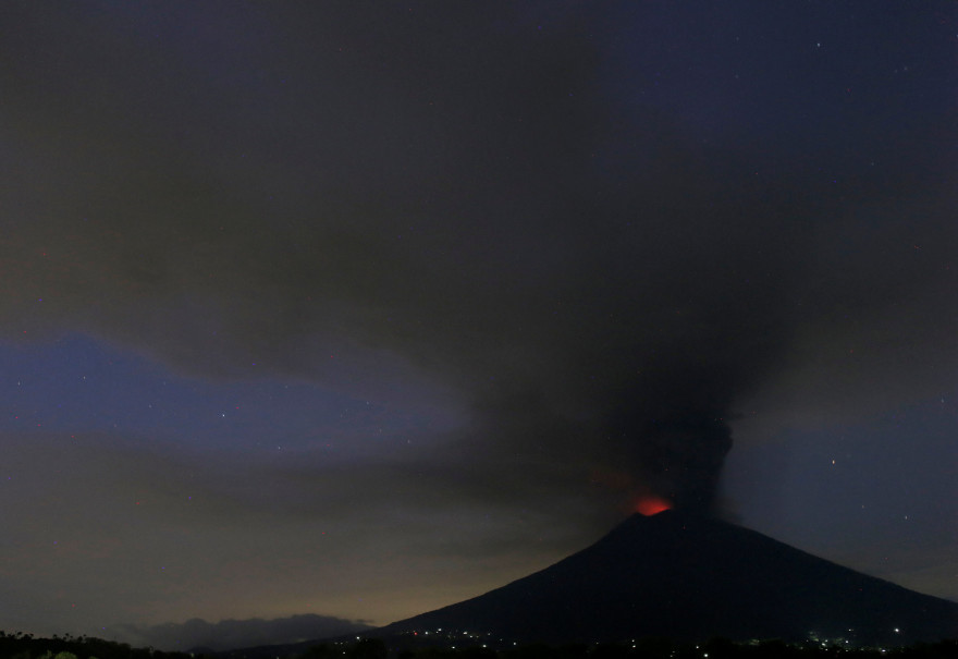 Magma is visible on top of Mount Agung on Nov. 27, 2017. (Reuters Photo/Johannes P. Christo)