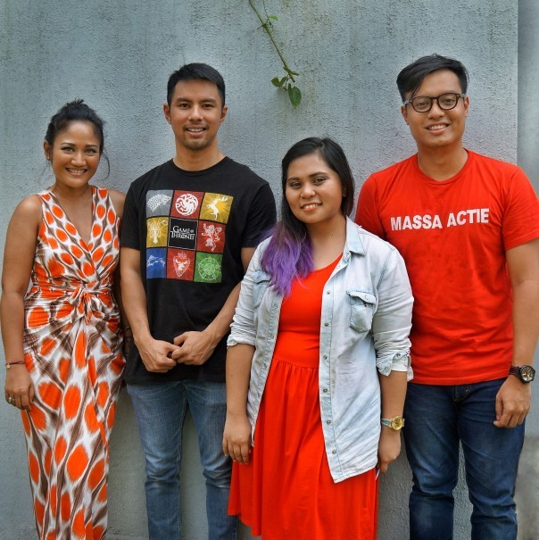 Left to right, Putri Minangsari, Abdul Qowi Bastian, Ayu Meutia and Pangeran Siahaan – the four faces of Unmasked. (Photo courtesy of Unmasked Poetry Open Mic)