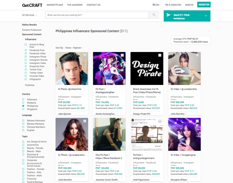 GetCraft's marketplace in action, showing influencers and content creators in the Philippines. (Photo courtesy of GetCraft)