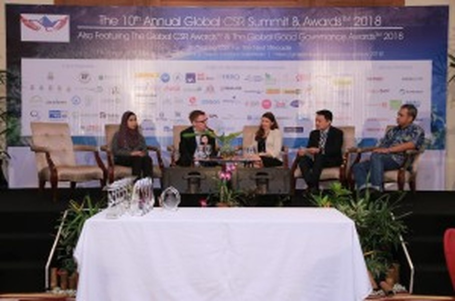 A panel discussion during the 10th Annual Global CSR Summit and Awards in Lombok, West Nusa Tenggara, on April 19. (Photo courtesy of the Pinnacle Group)