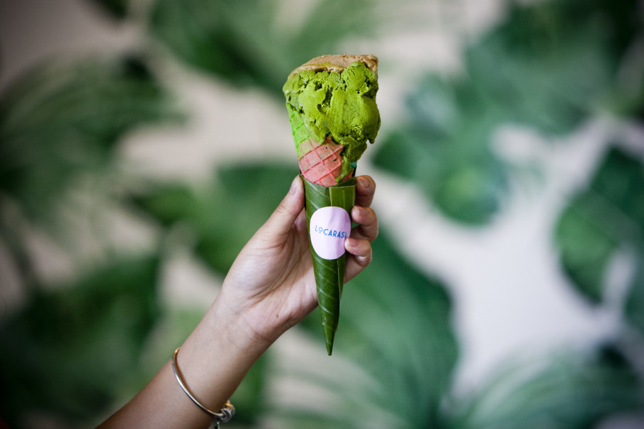 Kemangi (basil) and tempe (fermented soybean) ice cream on a waffle cone at Locarasa. (JG Photo/Yudha Baskoro)
