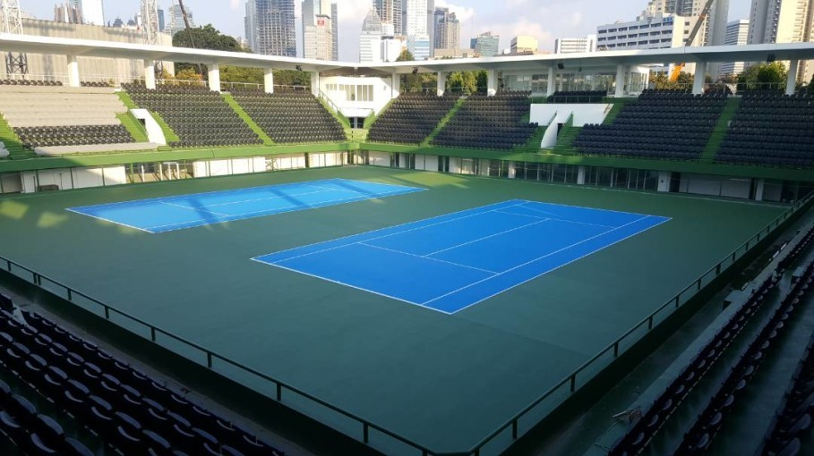 The newly renovated outdoor tennis courts at Gelora Bung Karno Sports Complex. (Photo courtesy of Brantas Abipraya)