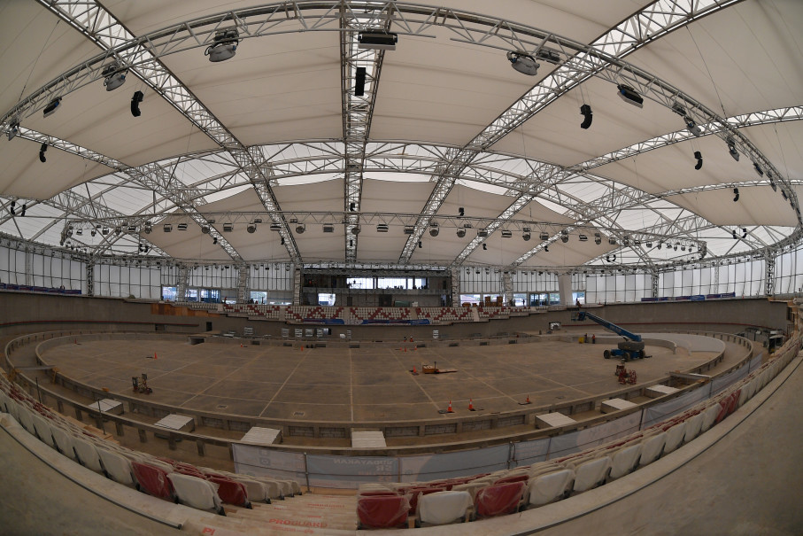 Renovations of the Rawamangun Velodrome still underway in this photo taken in March. (Antara Photo/Sigid Kurniawan)