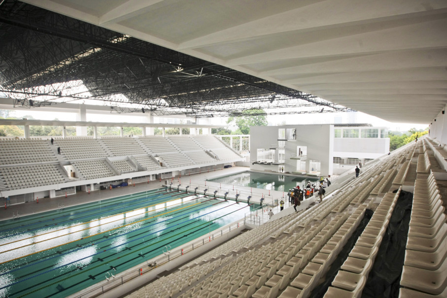 The aquatic center is one of six heritage buildings at Gelora Bung Karno Sports Complex (JG Photo/Yudha Baskoro)