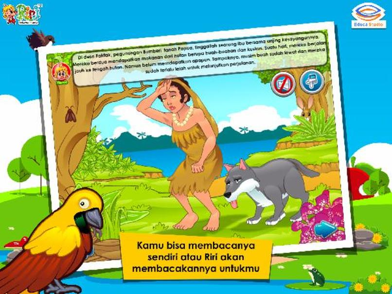 A panel from Educa Studio's 'Asal Usul Burung Cendrawasih' ('The Legend of the Bird of Paradise') story book app. (Photo courtesy of Educa Studio)