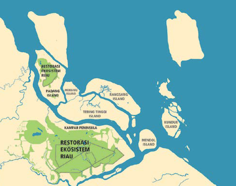 A map showing the Riau Ecosystem Restoration Program areas on the east coast of Sumatra Island. (Photo courtesy of the APRIL Group)