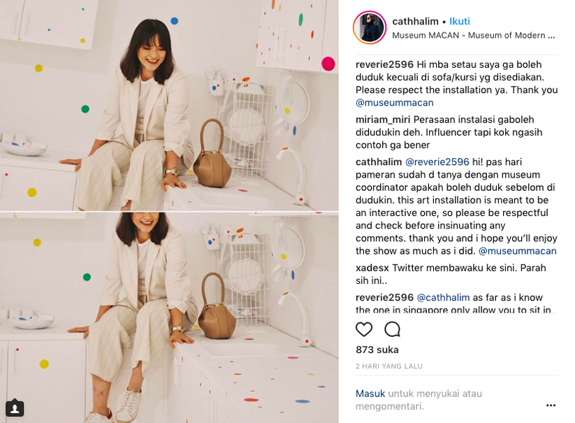 Instagram celeb Cath Halim posted a photo of herself sitting on the kitchen counter in Yayoi Kusama's 'Obliteration Room.' (JG Screenshot)