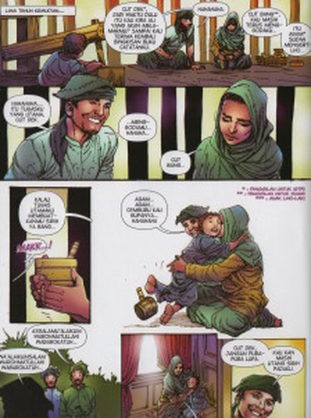 Panels from the comic book, 'Keumalahayati, Laksamana Perempuan Pertama' (First Woman Admiral Keumalahayati) by Marcella Zalianty and Edna Caroline. (JG Photo/Diella Yasmine)