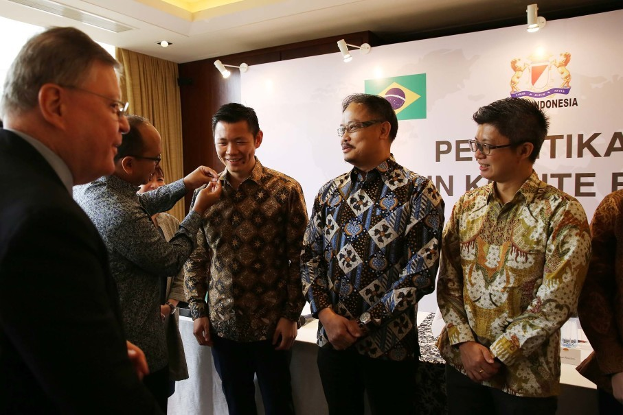 Anderson Tanoto, third from right, was appointed as chairman of Kadin's Brazil Committee. (Photo courtesy of RAPP)