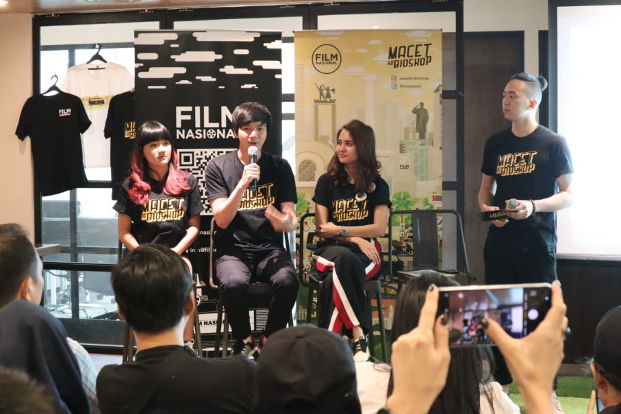 Left to right, former JKT48 idol Cindy Gulla, gaming YouTuber Reggy 'MiawAug' Prabowo, film actress Michelle Ziudith and Film Nasional creative director Elbert Lim at the launch of 'Macet Ke Bioskop' at Union Metropolitan in Cilandak, South Jakarta, on Thursday (31/05). (Photo courtesy of Film Nasional)