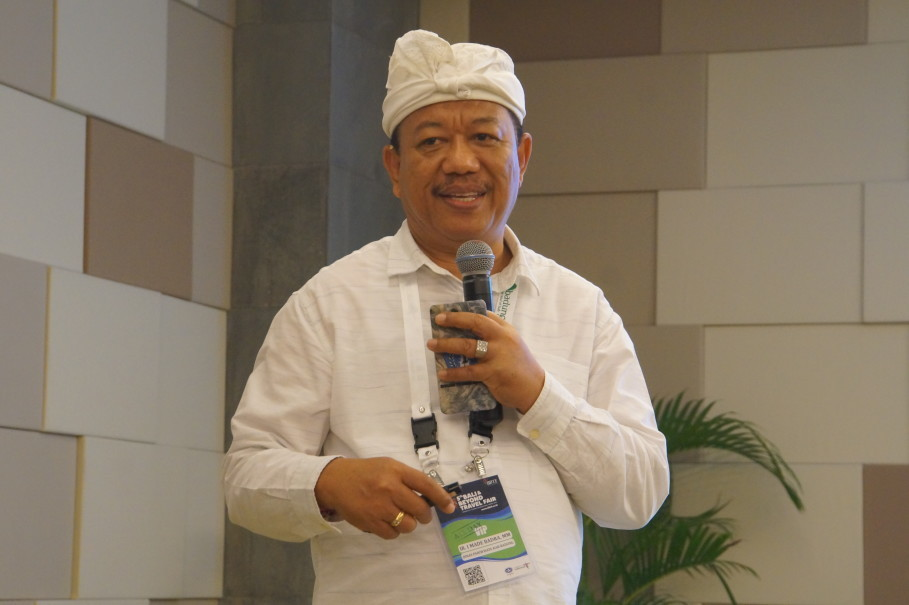 Badung Tourism Office head I Made Badra spoke to journalists at Bali & Beyond Travel Fair (BBTF) 2018 at Bali Nusa Dua Convention Center on Thursday (28/06). (JG Photo/Dhania Sarahtika)