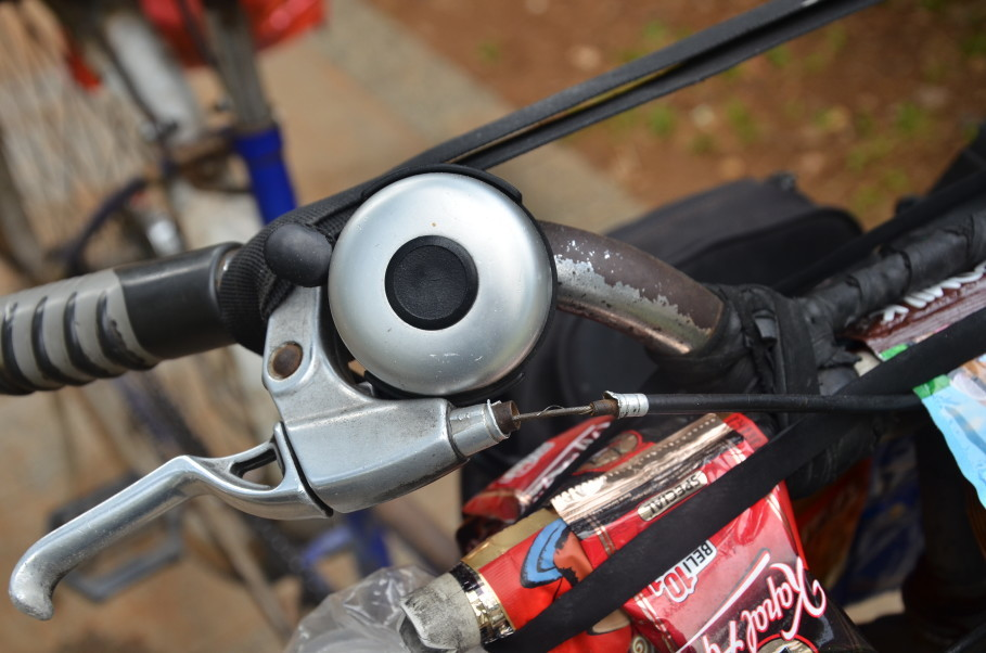 Mohammad Ali's trusty bicycle bell, which he rings to attract customers. (JG Photo/Cahya Nugraha)