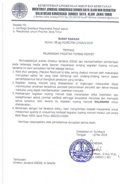 A scan of the official letter banning dancing monkeys in East Java. (Photo courtesy of Jakarta Animal Aid Network)