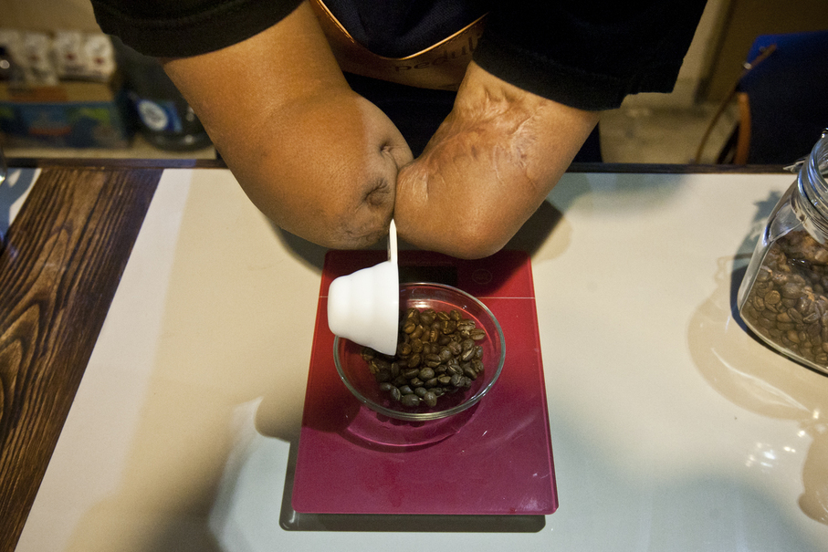 He was one of the first disabled baristas employed at Cupable Café. (JG Photo/Yudha Baskoro)