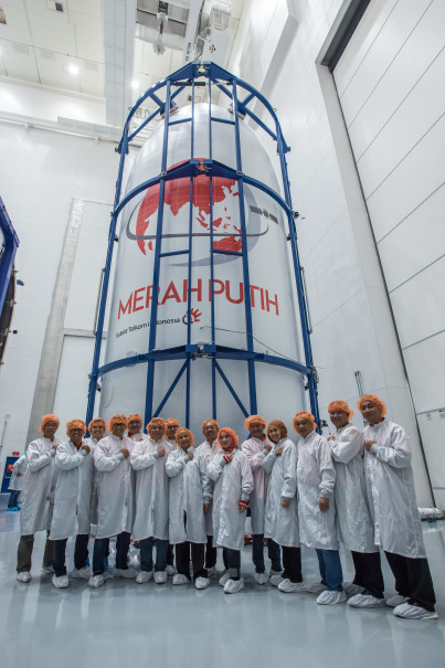 Telkom's Merah Putih satellite inside the Falcon 9's fairing. (Photo courtesy of Telkom Indonesia)