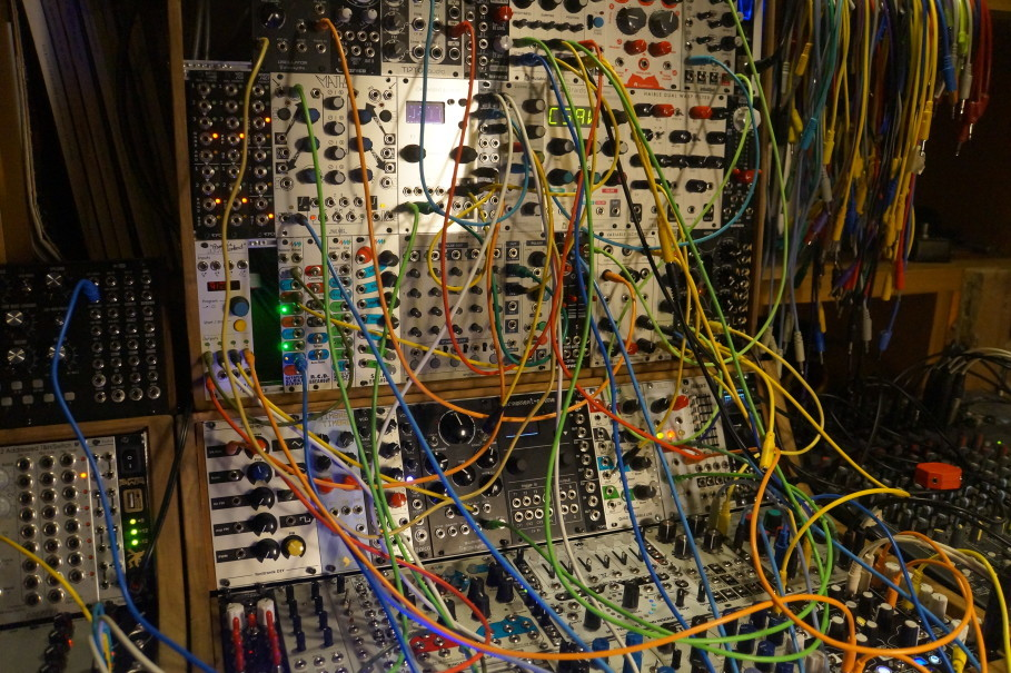 Indra Perkasa's modular synths set-up. (JG Photo/Dhania Sarahtika)