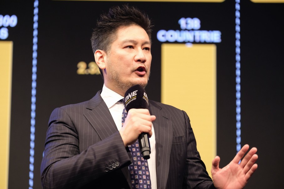 ONE Championship chief executive Chatri Sityodtong speaks at a press conference in Tokyo on Thursday (08/23). (Photo courtesy of ONE Championship)