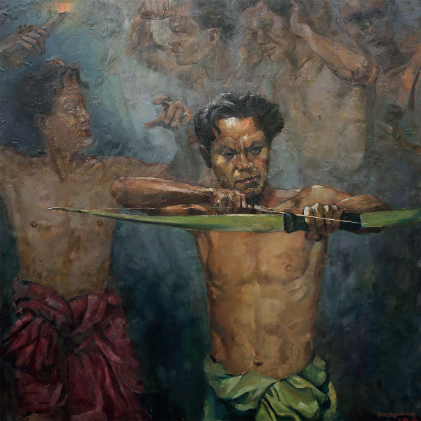 'Memanah' ('Shooting an Arrow') by painter and former governor of Jakarta Henk Ngantung. (Photo courtesy of Indonesia Presidential Palace)